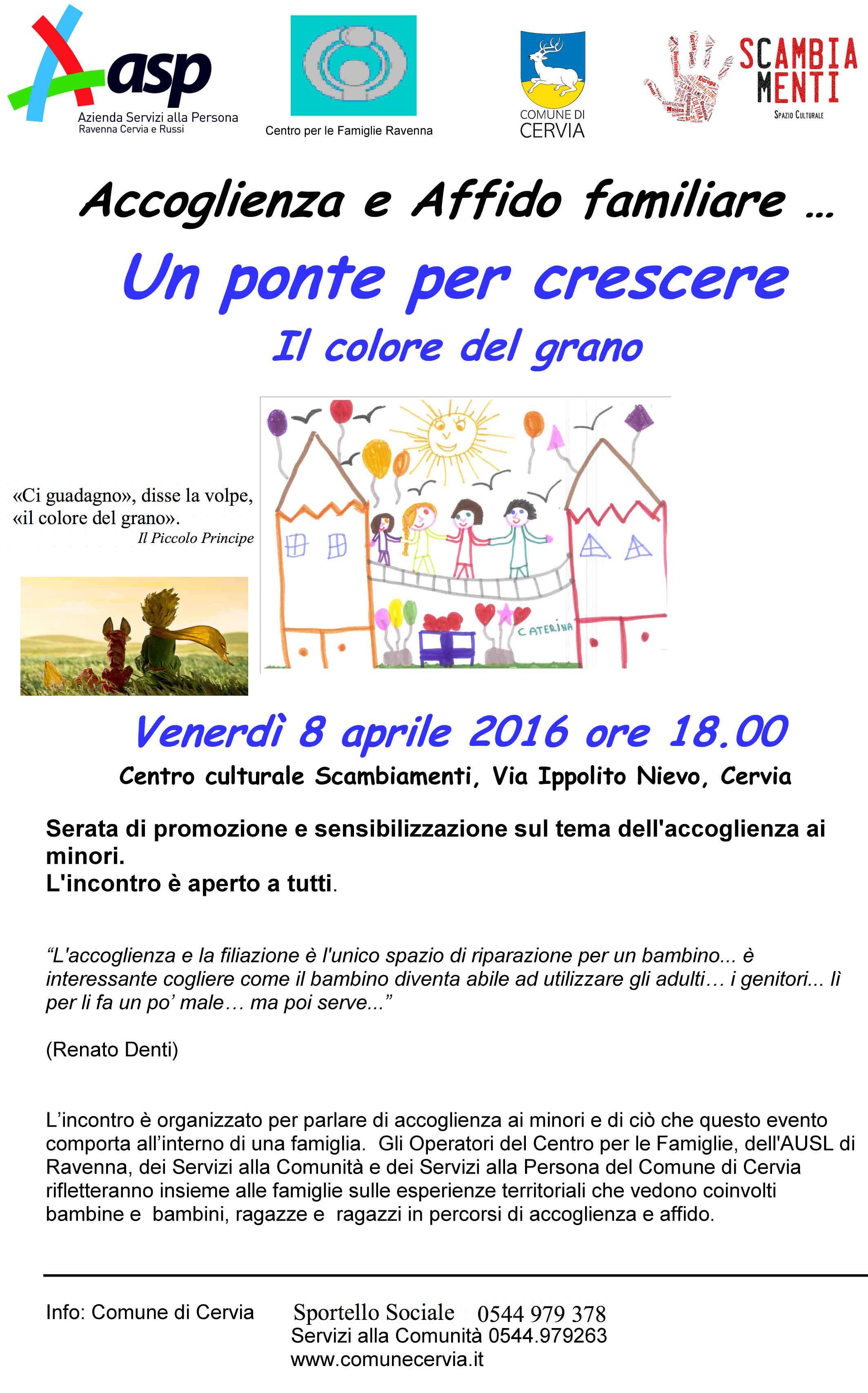 Un ponte per crescere - serata di promozione e sensibilizzazione sul tema dell'accoglienza ai minori
